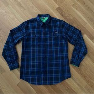 Eddie Bauer Blue Green Plaid Flannel Shirt TL
